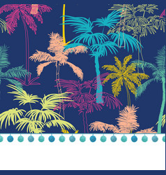 Pompom border trim on dark blue colorful vector