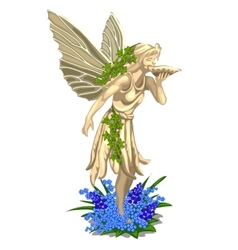 Statue fairies with wings on a white background vector