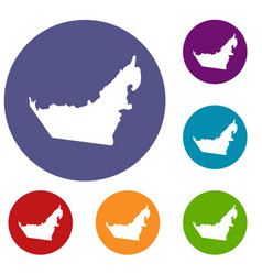 united arab emirates map icons set vector image vector image