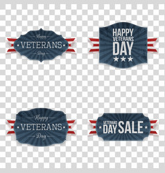 Veterans day emblems set vector