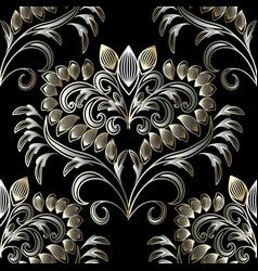 vintage floral hand drawn seamless pattern black vector image vector image