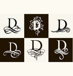 Vintage set capital letter d for monograms and vector