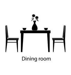 Home and hotel dining room interior with furniture vector