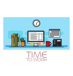 Time to work horizontal banner vector