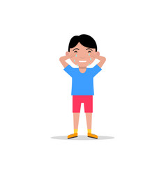 cartoon sad little boy crying vector image