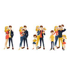 Family set with mom dad kids vector