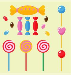 Sweets and candies sugar dessert caramel lollipop vector