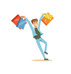 happy young man in a casual clothes having fun vector image
