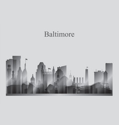 Baltimore city skyline silhouette in grayscale vector