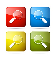 3d Blue Red Yellow and Green Magnifying Glass vector image vector image