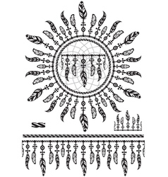 Pattern brushes with feathers and rope vector image