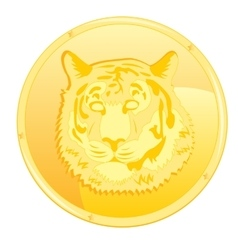 Coin with scene of the tiger vector