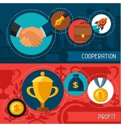 Business concept banners of cooperation and profit vector