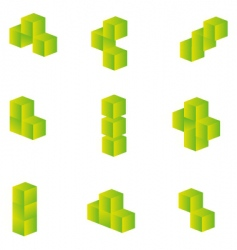 3d cubes set vector