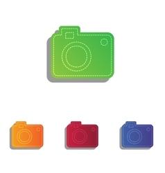 Digital camera sign colorfull applique icons set vector