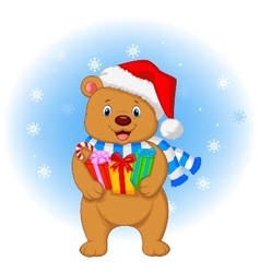Bear cartoon holding gifts vector image
