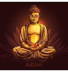Buddha on lotus flower vector