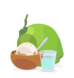 Coconut milk ice cream vector