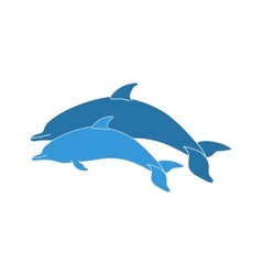 Couple jumping dolphins vector image vector image