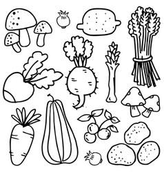 doodle of vegetable set art vector image vector image