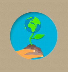 earth day paper cut world nature concept vector image vector image