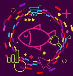 Fish on abstract colorful geometric dark vector image vector image