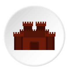 Fortress with gate icon circle vector