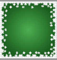 Frame white puzzles pieces green - jigsaw vector