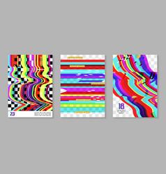 glitch futuristic posters covers set design vector image vector image
