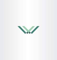 Green letter w and v logo vector
