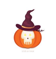 Halloween pumpkin with cute face on dark vector