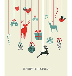 Happy hanging Christmas set vector image