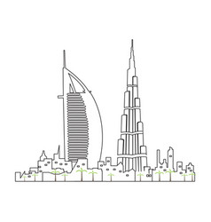 Isolated dubai cityscape vector
