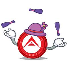 Juggling ark coin mascot cartoon vector