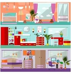 Kids bedroom interior in flat style vector image vector image