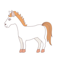 Light colors of cartoon horse standing vector