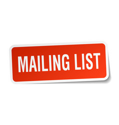 Mailing list square sticker on white vector