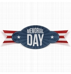 Memorial day festive badge with ribbon vector