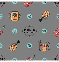 Music seamless pattern rock festival design vector