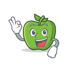 Okay green apple character cartoon vector