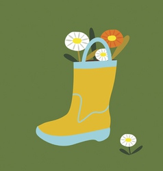 Post card boot with flowers vector