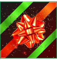 Red Christmas Bow with green tape and confetti on vector image