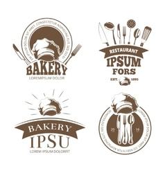 Restaurant menu design labels emblems vector image vector image
