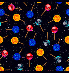 Seamless pattern with candy planets in dark vector