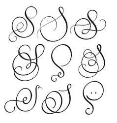 Set of art calligraphy letter s with flourish of vector