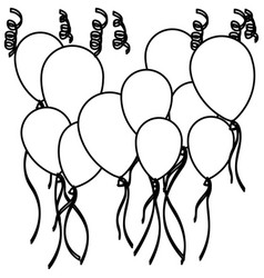 Sketch silhouette set flying balloons and vector