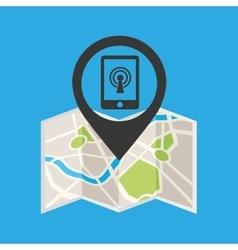 Smartphone wireless concept wifi pin icon vector