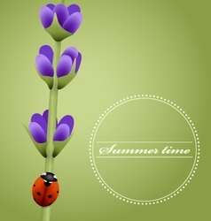 Sprig of lavender cute ladybug summer season vector