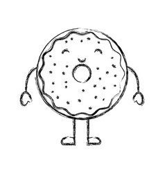 Sweet and delicious donut kawaii character vector