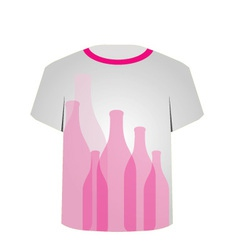 T Shirt Template- glass bottles vector image